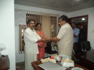 Handing over key to Dr. Bipin and Dr. Rekha Panicker