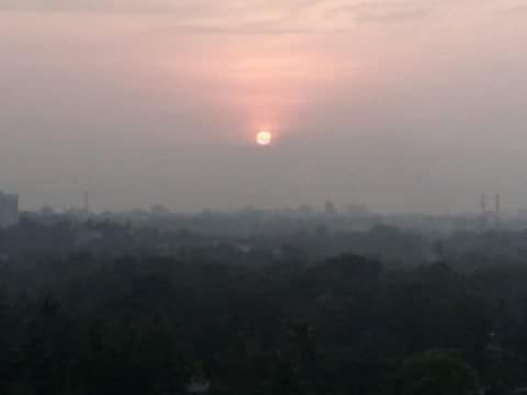 The sun rises & moon sets